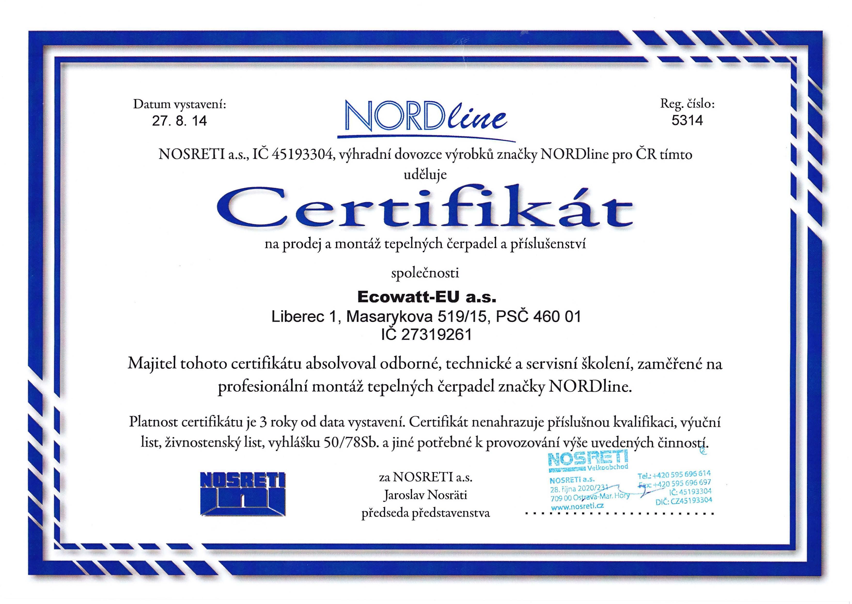 Certifikát na prodej a montáž tepelných čerpadel a příslušenství.
